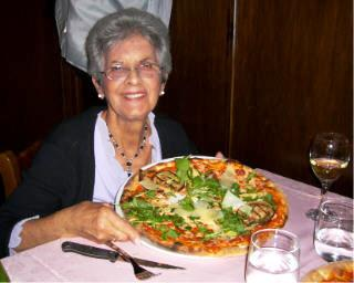 Eda Conte in Milan, Italy with perfect pizza.