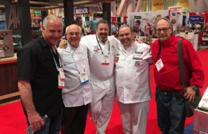 Mark Dym. Peter Reinhart, Jonathan Goldsmith, Leo Spizzirri, Albert Grande at Pizza Expo